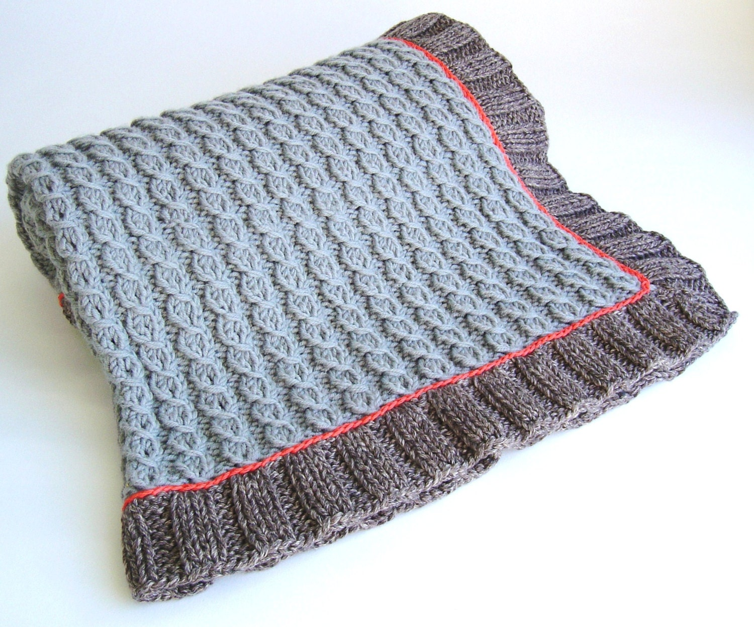 Knitting PATTERN Mock Cable Baby Blanket Easy Knit Lap ...