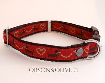 I Love Sausages (Red) Dog Collar  Weiner Dachshund Gift  - Available in 4 sizes (XS, S, M, L)