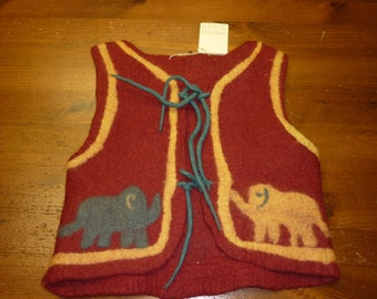 vest for kids, red, unique item, felted by hand.