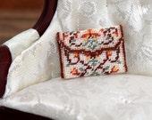 Dollhouse KIT clutch bag / handbag (purse),  needlepoint embroidery, 'Peony', for 1:12 dollhouses – 22 x 18mm, 40 count silk gauze