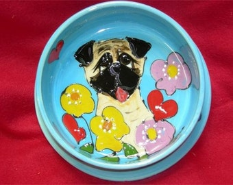 Hand Painted Pug Ceramic Dog Bowl