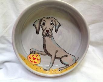Hand Painted Weimaraner Ceramic Dog Bowl