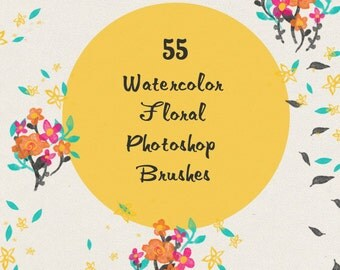 Watercolor Floral Photoshop Brushes- Set of 55