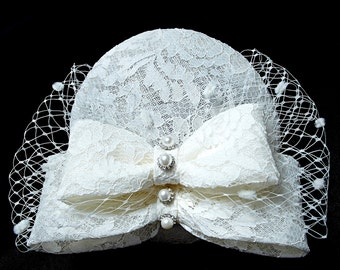 Vintage lace Fascinator, with birdcage veiling.  Fascinator.  Weddings. Race Meetings. Mother of the Bride