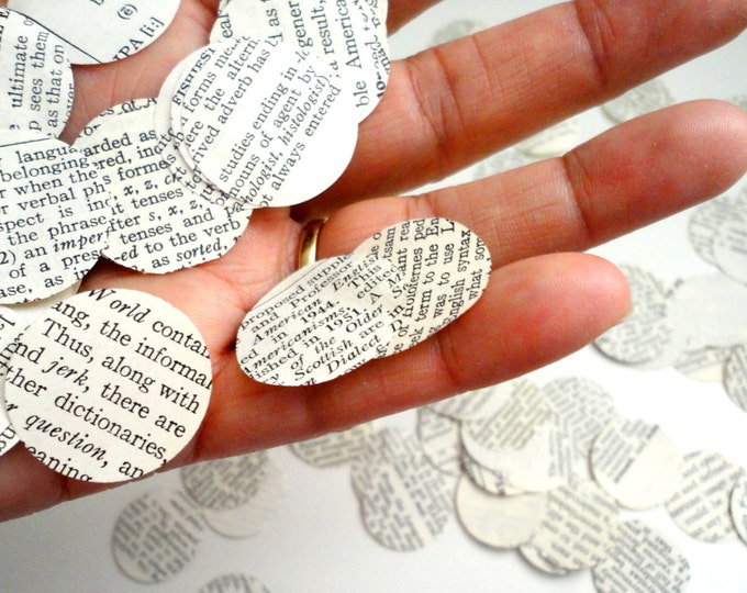 "Book Page Confetti Made From Vintage Books | 1"" Circles 
