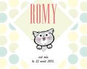 "Illustrated Birth Announcement Card ""Kitten"""