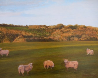 Spring Cotswold Sheep, Dusk; 14 x 18 original landscape oil painting on canvas, wall decor, animals, field, trees, rural, England,
