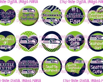 Seattle Seahawks INSPIRED INSTANT DOWNLOAD 4x6 Digital Printable 1 Inch Bottle Cap Images Sheet