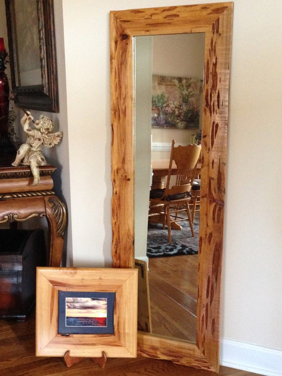 Items similar to full length mirror in a wood frame on etsy for Wooden mirror frames for crafts