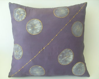 Decorative hand painted silk cushion cover.