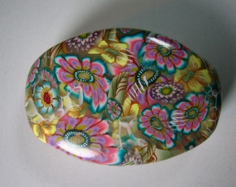 Oval Millennium Garden pendant in pink and yellow