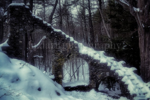 Castle Ruins, Snow, Winter Photography, Nature Photo, Landscape 8x12, 12 x 18