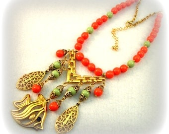Rhumba - Tropical Statement Necklace - Gypsy Beach Jewelry in LIme and Tangerine by Cindy Caraway