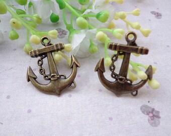 SALE--Anchor Charms -50 pcs Antique Bronze Charm Pendants 32x27mm