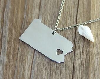 I heart Pennsylvania Necklace - Pennsylvania Pendant - State Necklace - State Charm - Map necklace - Map Jewelry