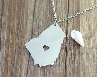I heart Georgia Necklace - Georgia Map Pendant - State Necklace - State Charm - Map necklace - Map Jewelry