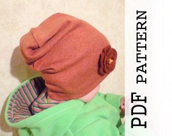 Baby Slouchy Beanie Pattern, PDF sewing pattern baby, Baby Slouchy Beanie pattern, Hat pattern for Kids, Slouchy Hat Pattern. Sewing Pattern