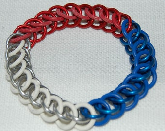 National Flag Colours stretchy chainmaille bracelet