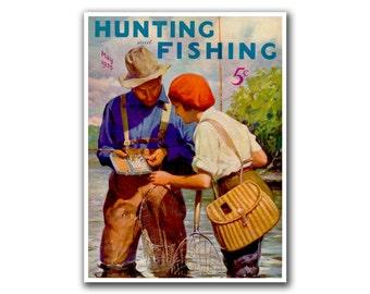 Mancave Decor Hunting Art Fishing Poster Vintage Print (H2)