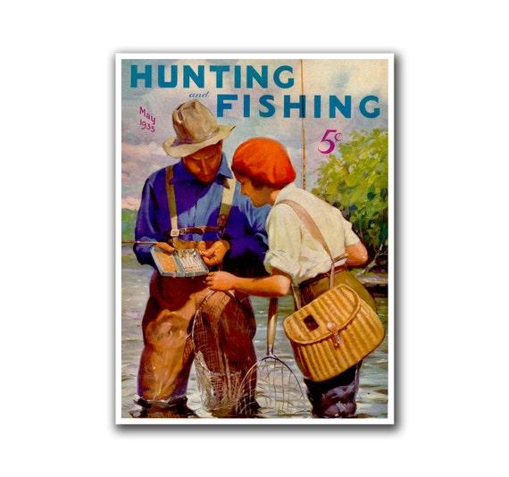 Mancave Decor Hunting Art Fishing Poster Vintage Print H2