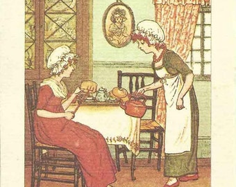 Kate Greenaway Greeting Card by Gallery Five 1970's vintage... Polly put the kettle on