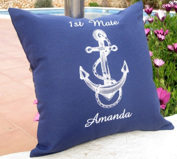 Personalized Embroidered Throw Pillows : Navy Blue Pillow Personalized Captain Embroidered personalized
