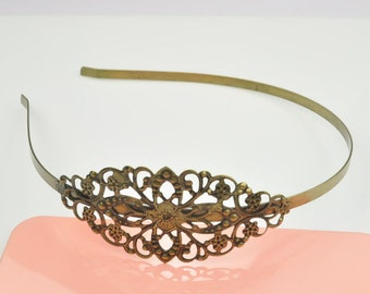 2pcs Headband-- Antique Bronze Filigree Floral Headband.