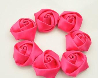 Shocking pink Topaz Satin fabric Rose flowers,satin flower,wholesale flowers,fabric flower,rolled satin flower,headband supplies,Qty:18pc