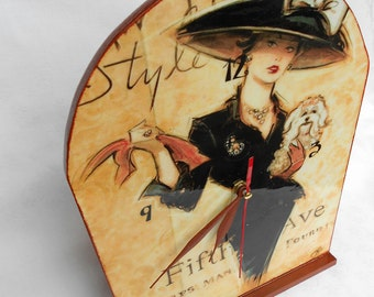 "Handmade wooden table clock ""New York Style"" decoupage clock 20 cm x 30 cm/7.9 in x 11.8 in , decoupage table clock"