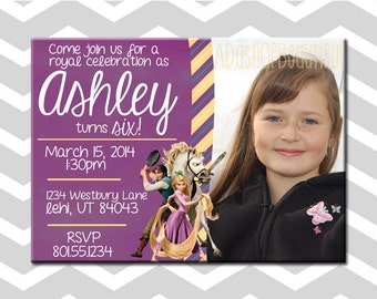 Tangled Birthday Invitation/Card With Picture