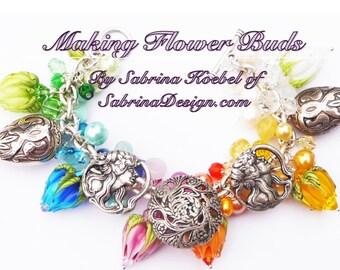 How to make Flower Buds by Sabrina Koebel of SabrinaDesign Handmade Lampwork Beads Lampwork Bead Tutorial