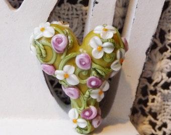 Sweet Heart Focal in Lydie's Garden by Sabrina Koebel Handmade Lampwork Beads