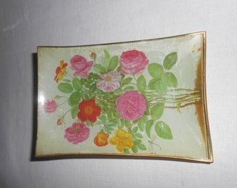 Decoupage glass dish. Flowers Collection