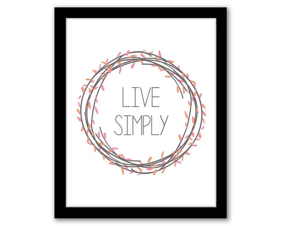 INSTANT DOWNLOAD Live Simply Pink & Orange Living Room Wall