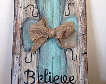 Rustic, distressed, hand-painted, pallet sign. Perfect for home decor