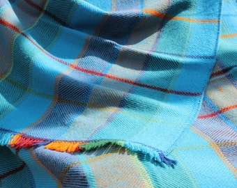 Wool blanket 100% hand-woven on loom. For winter, multicolor.