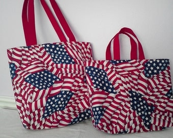 American Flag Cotton Tote Bag - This listing is for medium tote only. Large tote no longer available.
