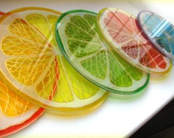 Citrus Cup Coasters Hand painted glass lime lemon orange slices coasters