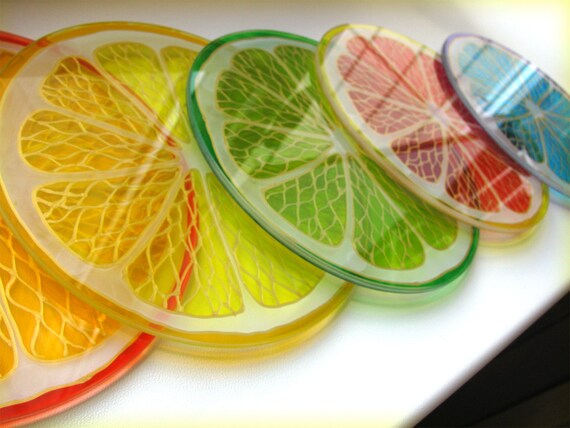 Https Www Etsy Com Listing 182579838 Glass Coaster Colorful Citrus Hand