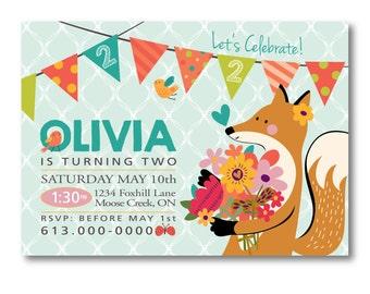 Fox Birthday Invitation, Customized Printable DIY, Floral Fox Party