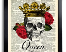 Skull Queen Rose Crown Flower Art Print Vintage Book Print Recycled Vintage Dictionary Page Collage Repurposed Book Upcycled Dictionary 201