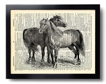 Horse Art Print on Dictionary Page, Unique Poster Art, Horse Painting, Vintage Horse Illustration,Dictionary Art Prints, Bedroom Decor 287
