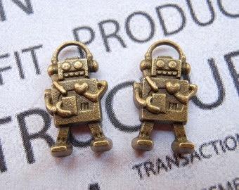 50 pcs of Antique Bronze Lovely Mini Robot Charms 9x17mm