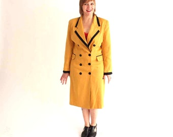 SALE blazer dress - double breasted jacket coat - mustard yellow dress - womens large xl