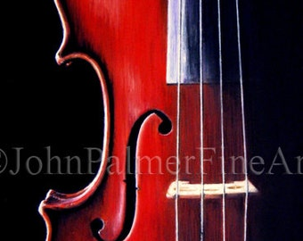 Cello moods - print from my original pastel painting.