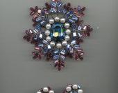 ON SALE   Fabulous Vrba Brooch and Earrings Set-Great Colors!