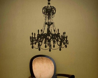 Grunge Chandelier Vinyl Decal size LARGE - Chandelier wall décor, Home décor, Office Decal, Romantic Bedroom décor