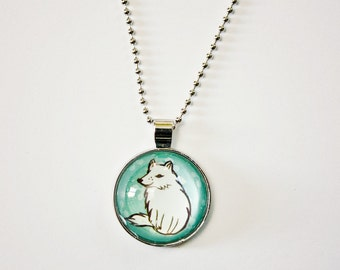 Wolf Necklace Dire Wolf Necklace Wolf Jewelry - Dire Wolf Stocking Stuffer - Glass Wolf Necklace - Arctic Wolf Charm Necklace