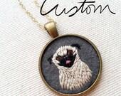Custom Pet Portrait Necklace - Dog - Cat - Keepsake Pendant - Embroidered Memento - One of a kind - Pug - Border Collie - Cattle Dog-Bouvier