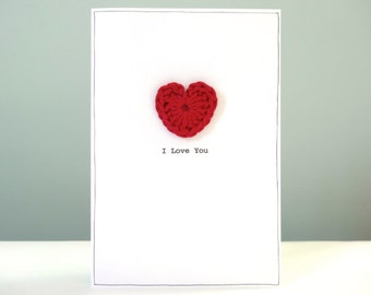 Romantic Anniversary Card - red crochet heart - personalised anniversary card - i love you - happy anniversary card husband wife - UK made